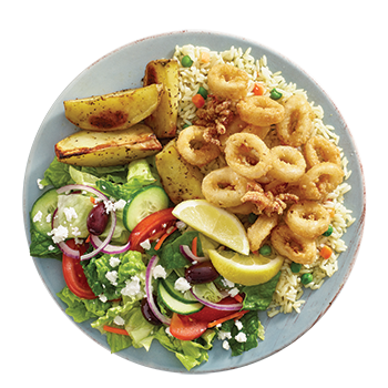 Calamari plate with seasoned, lightly dusted fried calamari served with rice, potatoes, side Greek salad, dip