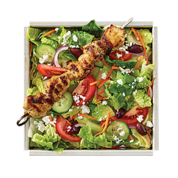 Spartan / Greek Salad with Iceberg mix, black olive, cucumber, feta, onion, tomato, MR.SOUVLAKI dressing, pita wedge PICK YOUR PROTEIN: Chicken, Spicy Chicken, Pork, Gyro, Falafel, Calamari