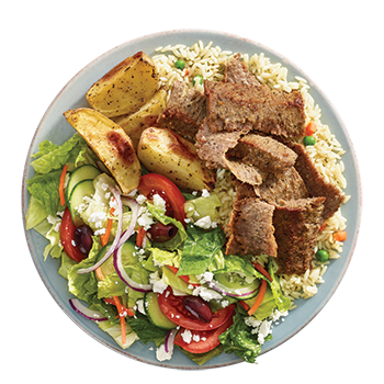 Gyro plate shavings of roasted beef and lamb served with rice, potatoes, side Greek salad, dip