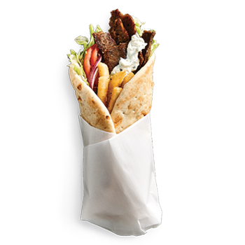 Our Mister Pita is a Large 9 inch pita loaded with fries, lettuce, onion, tomato, choice of dip, side and bottled pop. PICK YOUR PROTEIN: Chicken, Spicy Chicken, Pork, Gyro, Falafel
