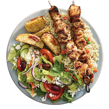 Souvlaki plate with choice of one or two souvlaki skewers (Chicken, Spicy Chicken or Pork) served with rice, roasted potatoes, side Greek salad, dip