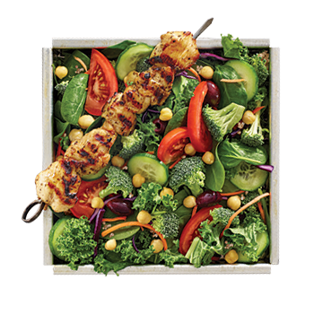 Zeus Salad with Kale, spinach, black olive, broccoli, chickpea, cucumber, red cabbage, shredded carrot, tomato, red pepper hummus, Greek feta vinaigrette, pita wedge PICK YOUR PROTEIN: Chicken, Spicy Chicken, Pork, Gyro, Falafel, Calamari